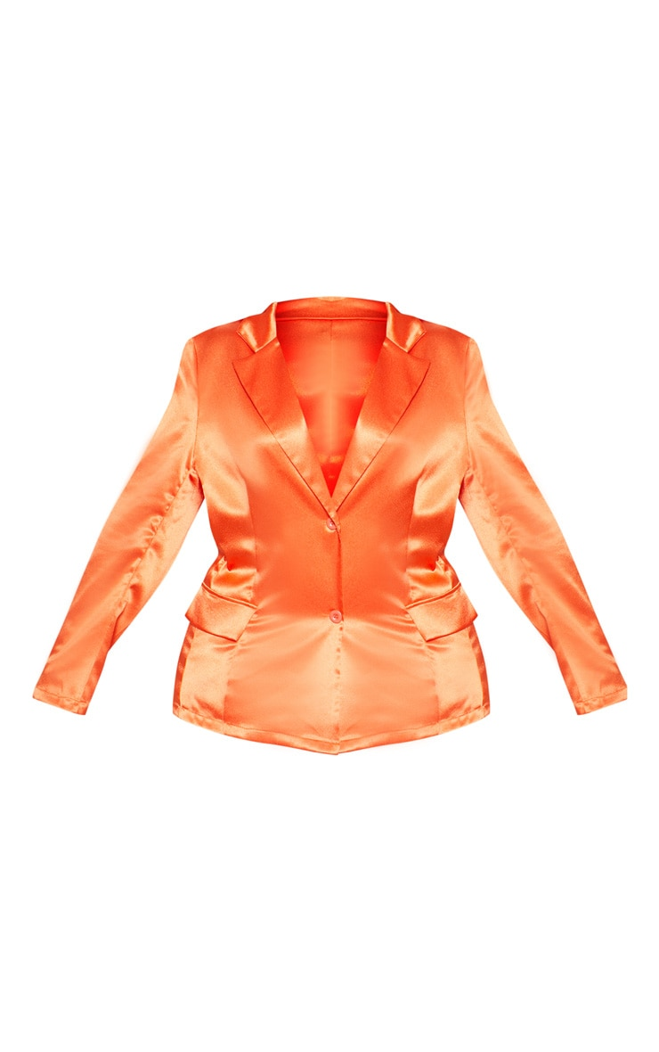 Plus Orange Satin Blazer  3