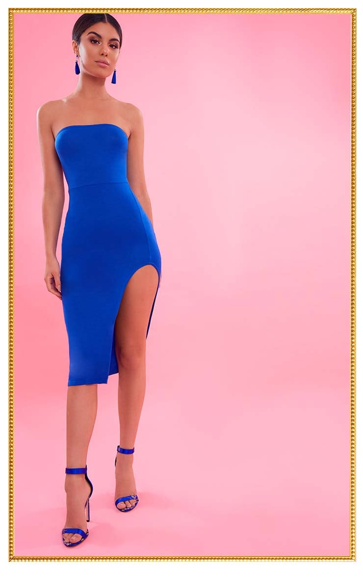 Cobalt Bandeau Split Front Midi Dress 1