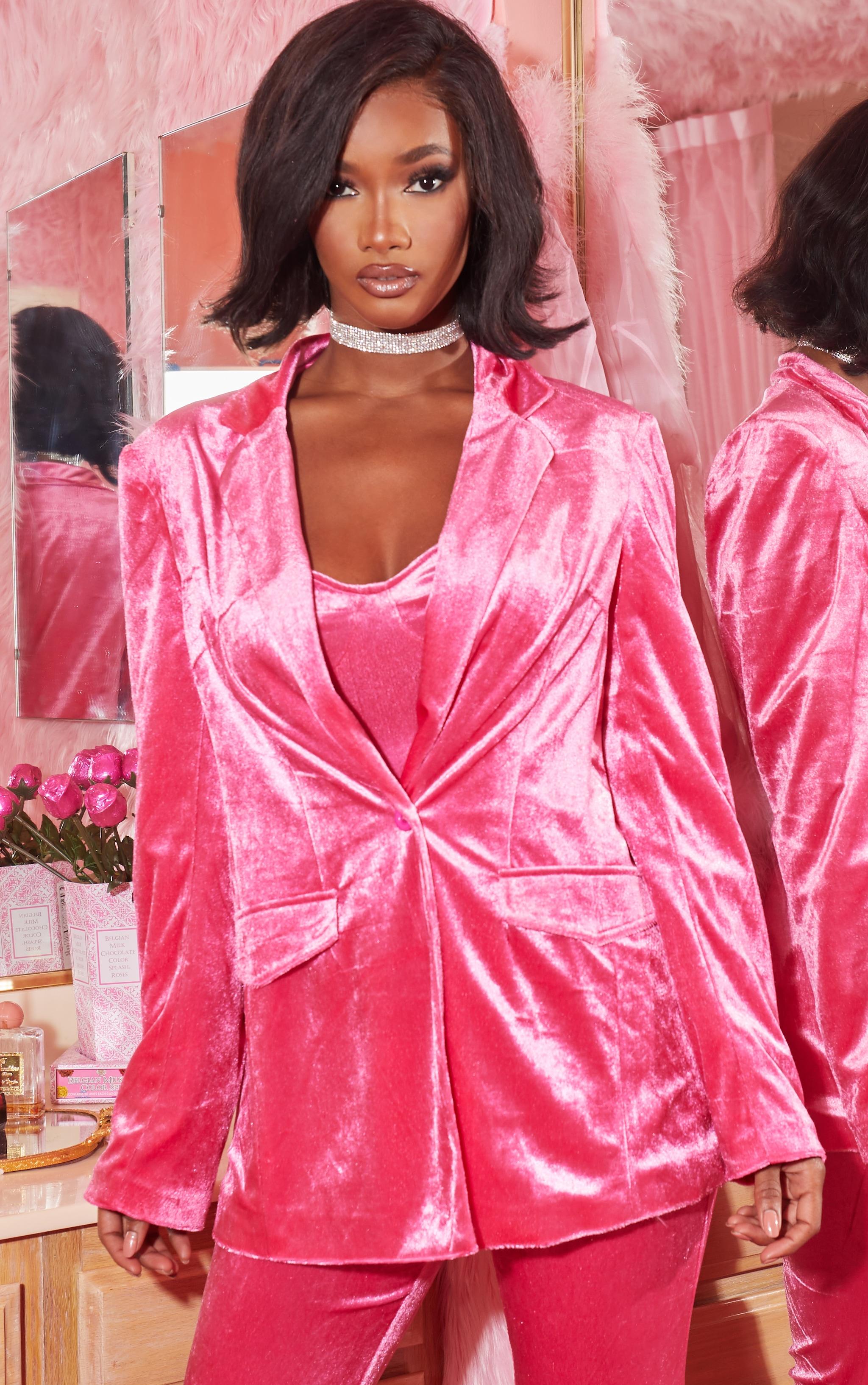 Hot Pink Longline Velvet Blazer 1