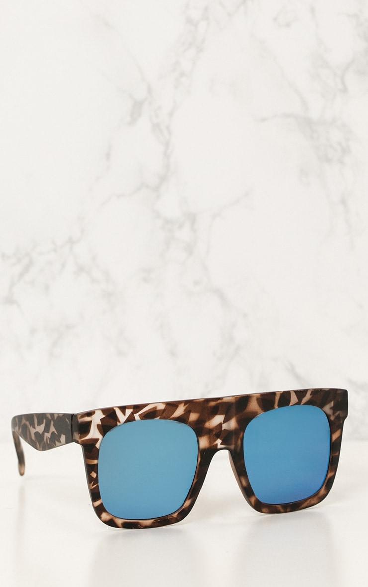 Tortoise Shell Wide Frame Square Sunglasses 2