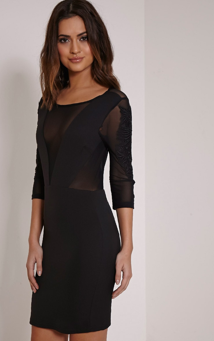 Daniella Black Mesh Insert Mini Dress 1