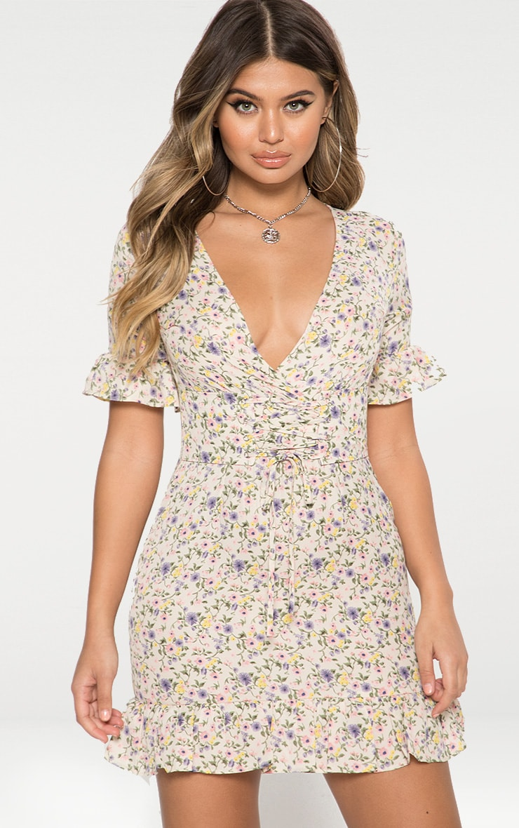 White Floral Corset Swing Dress 2