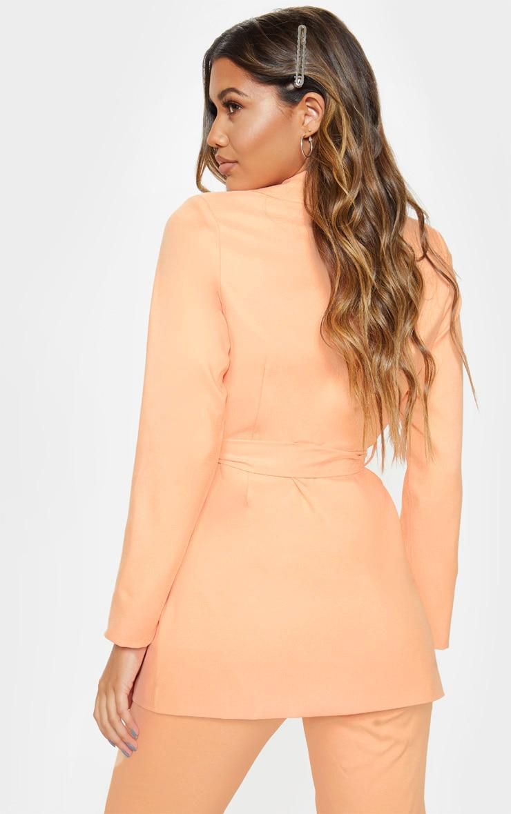 Peach Belted Longline Woven Blazer    2