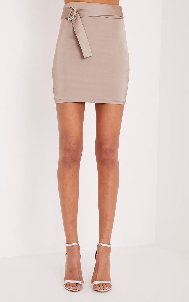 Helina Taupe Satin D Ring Mini Skirt 2