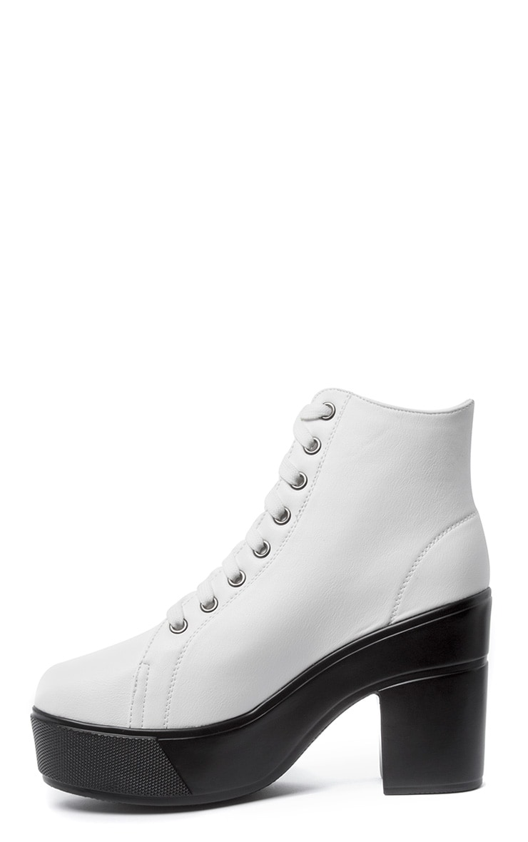 Mila White Lace Up Boot  1