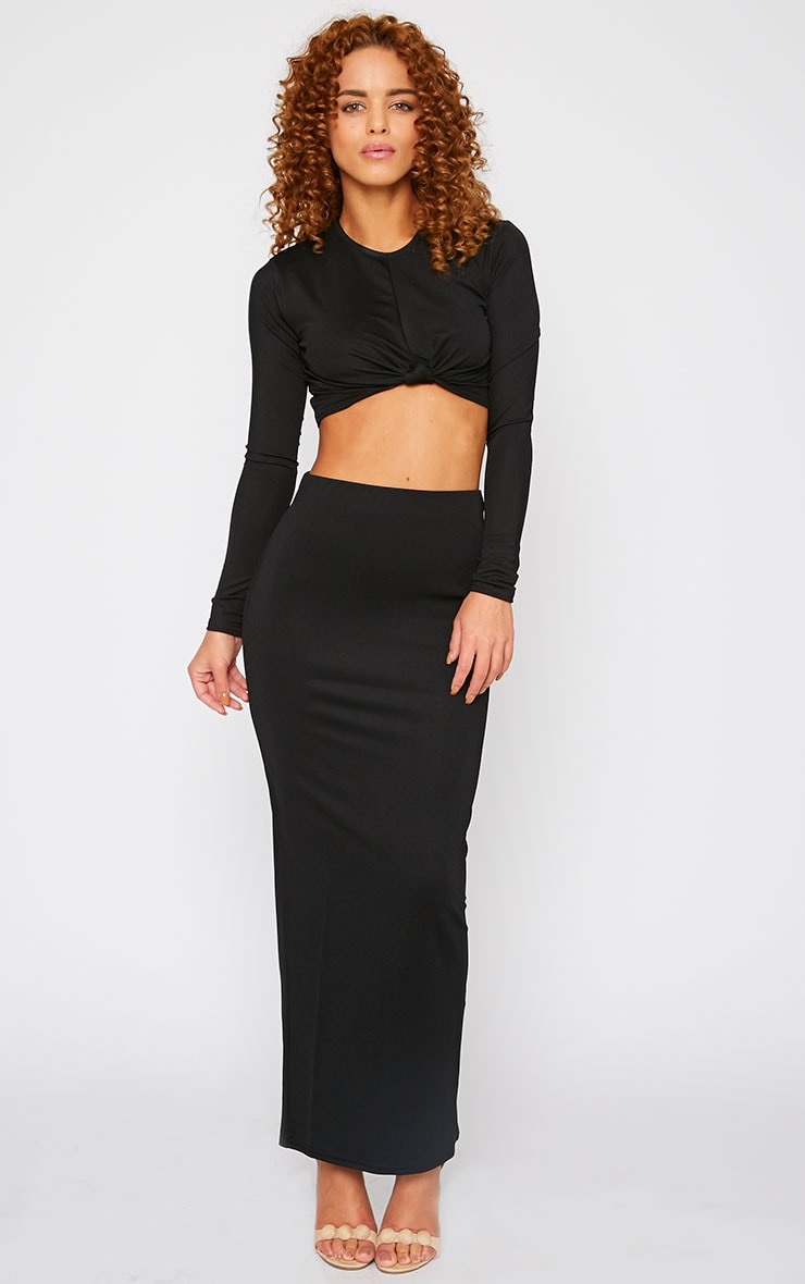 Zafia Black Crepe Split Maxi Skirt 5