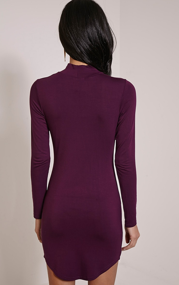 Alby Plum Curve Hem High Neck Dress 2