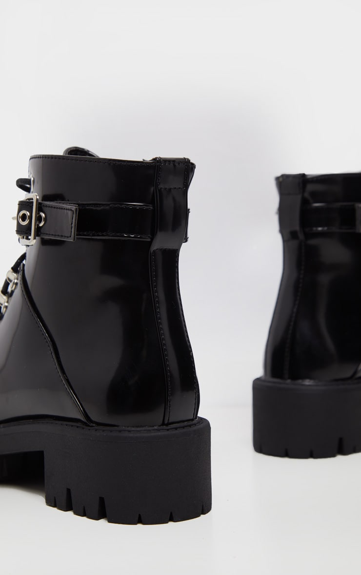 Black Hiker Lace Up Ankle Buckle Boot 5