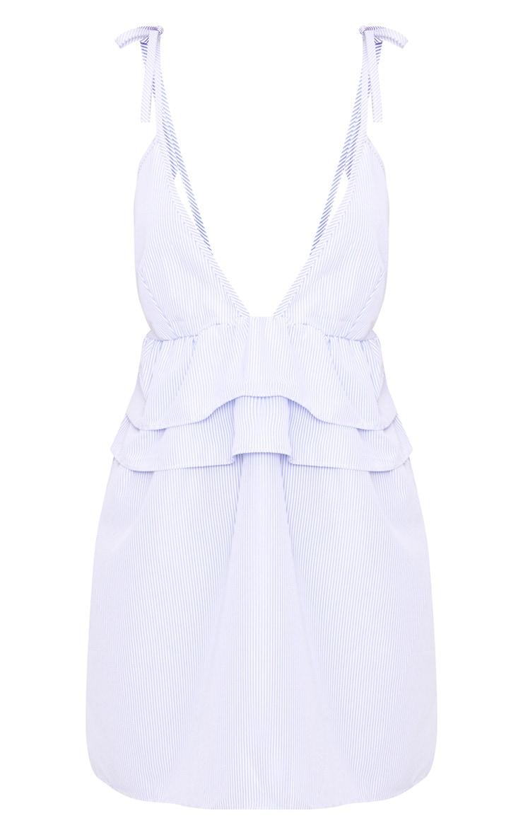 Blue Pinstripe Peplum Frill Detail Shift Dress 3
