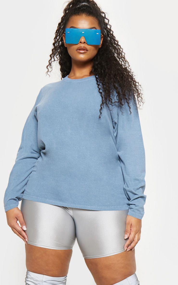 Plus Dusky Blue Long Sleeve T-shirt  1