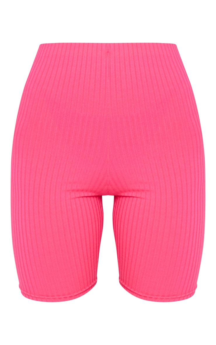 Hot Pink Ribbed Bike Shorts 6