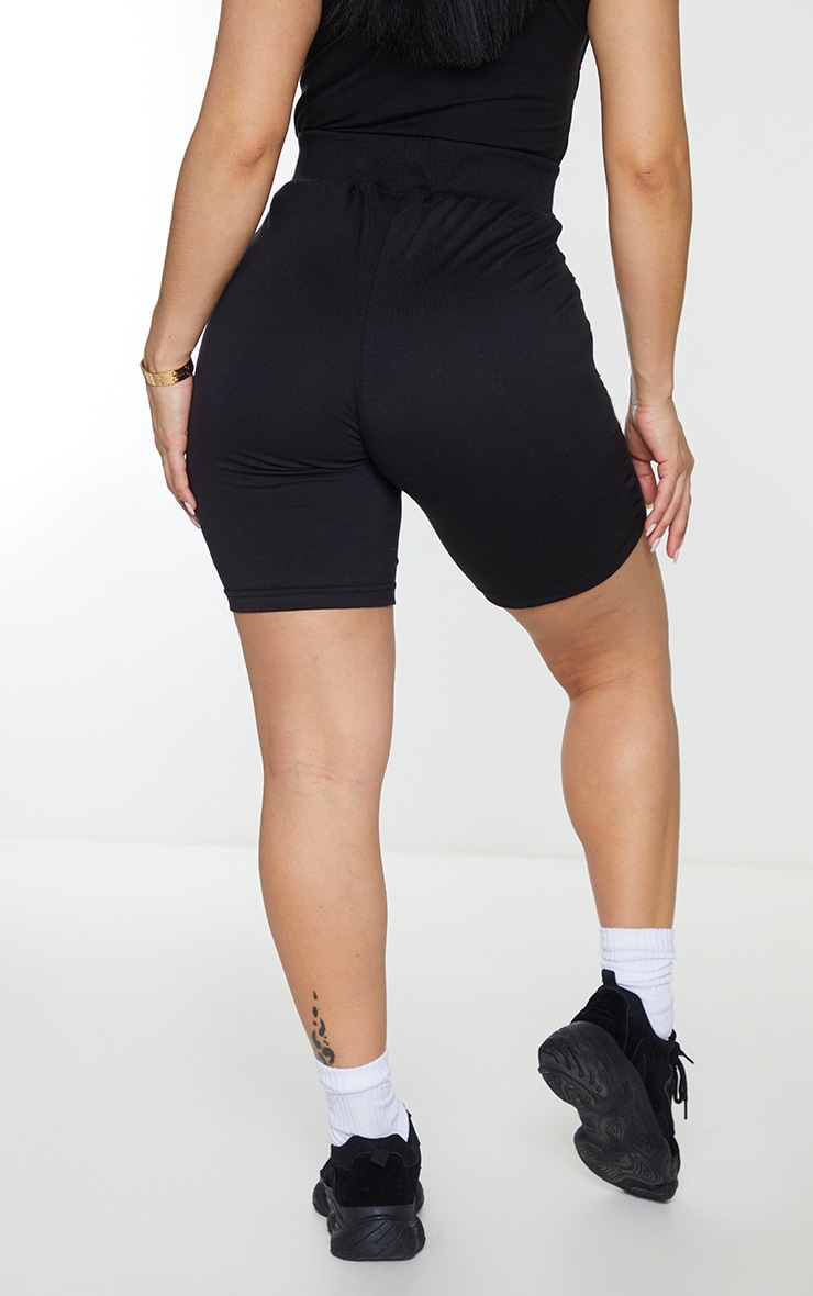 Shape Black Cotton Panel Detailed Bike Shorts 3