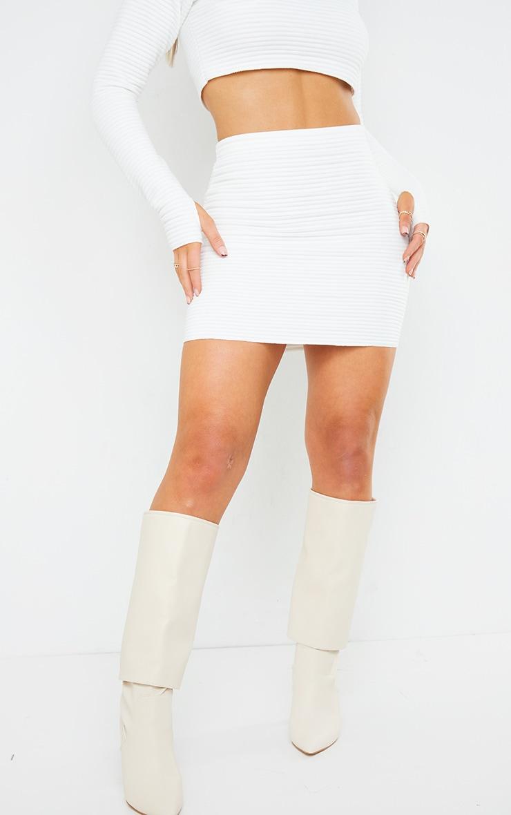 White Velvet Jumbo Rib Mini Skirt 2