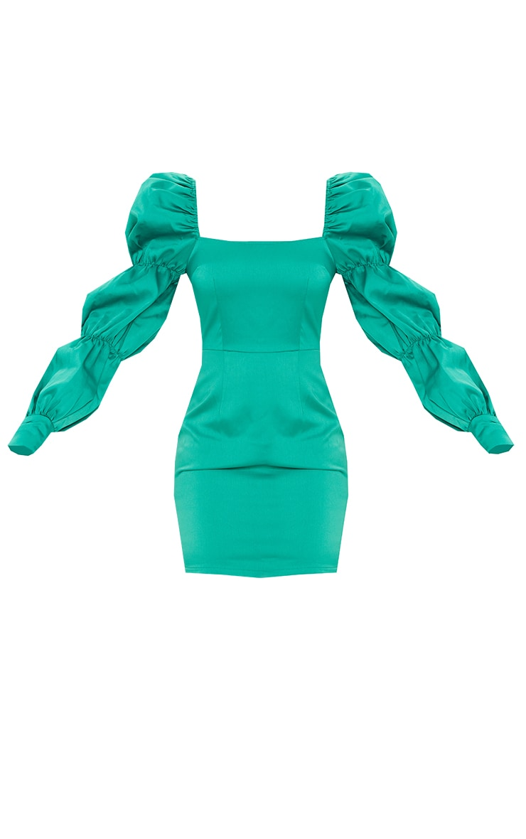 Emerald Green Bonded Satin Puff Shoulder Tiered Sleeve Bodycon Dress 5