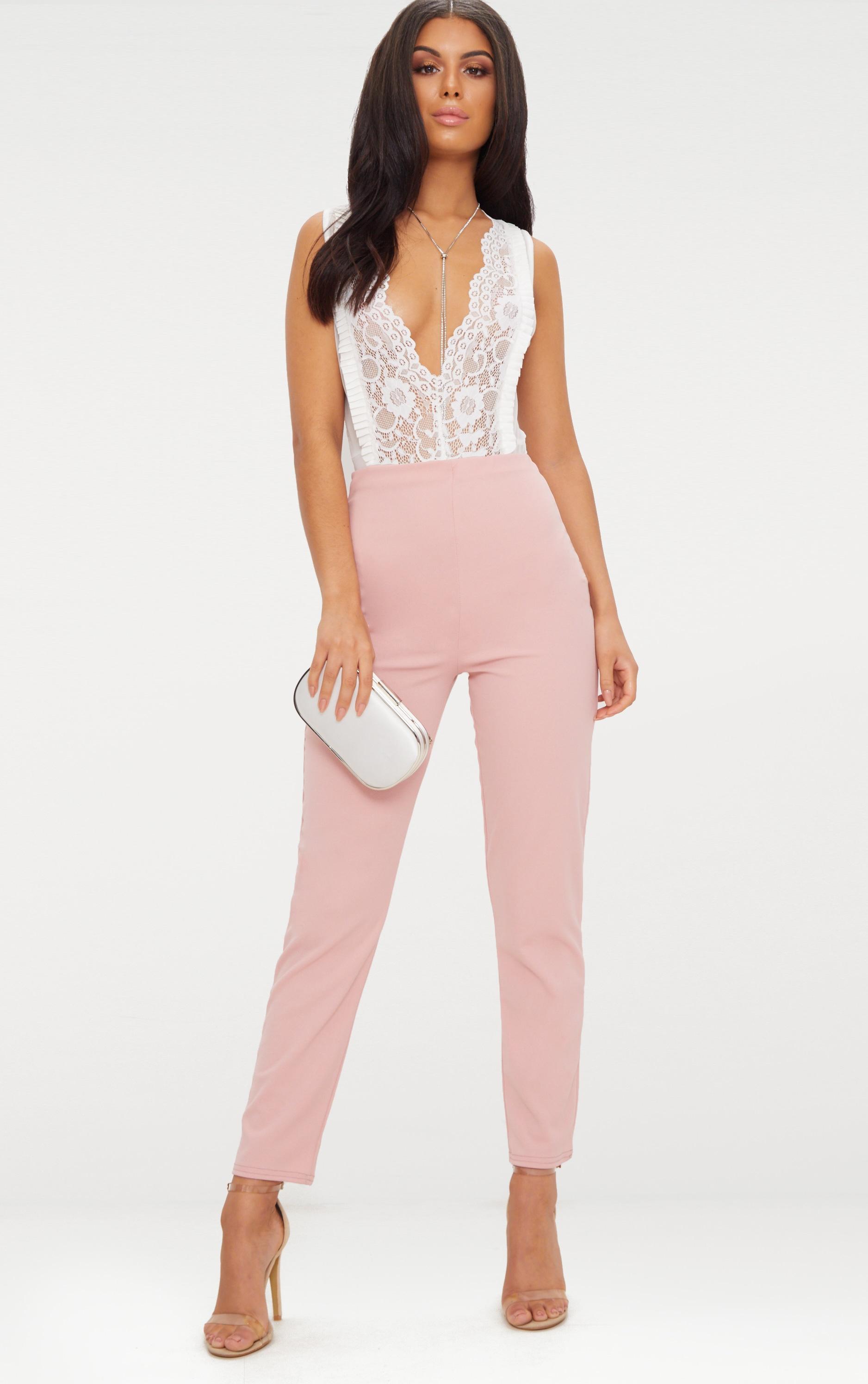 Pastel Pink Slim Leg Crepe Trousers 1
