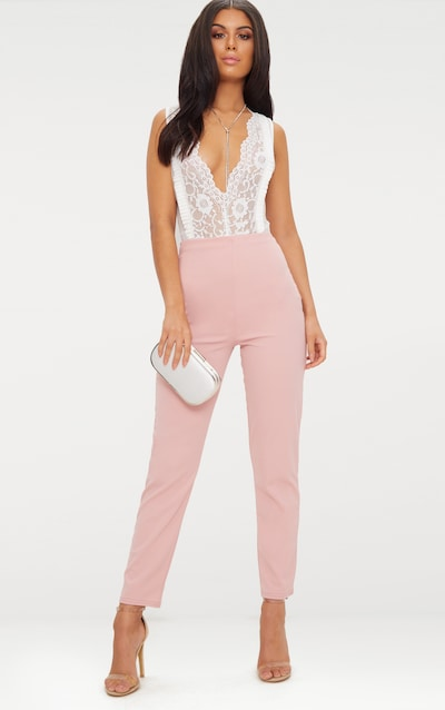 cce2fefd06 Pastel Pink Slim Leg Crepe Trousers