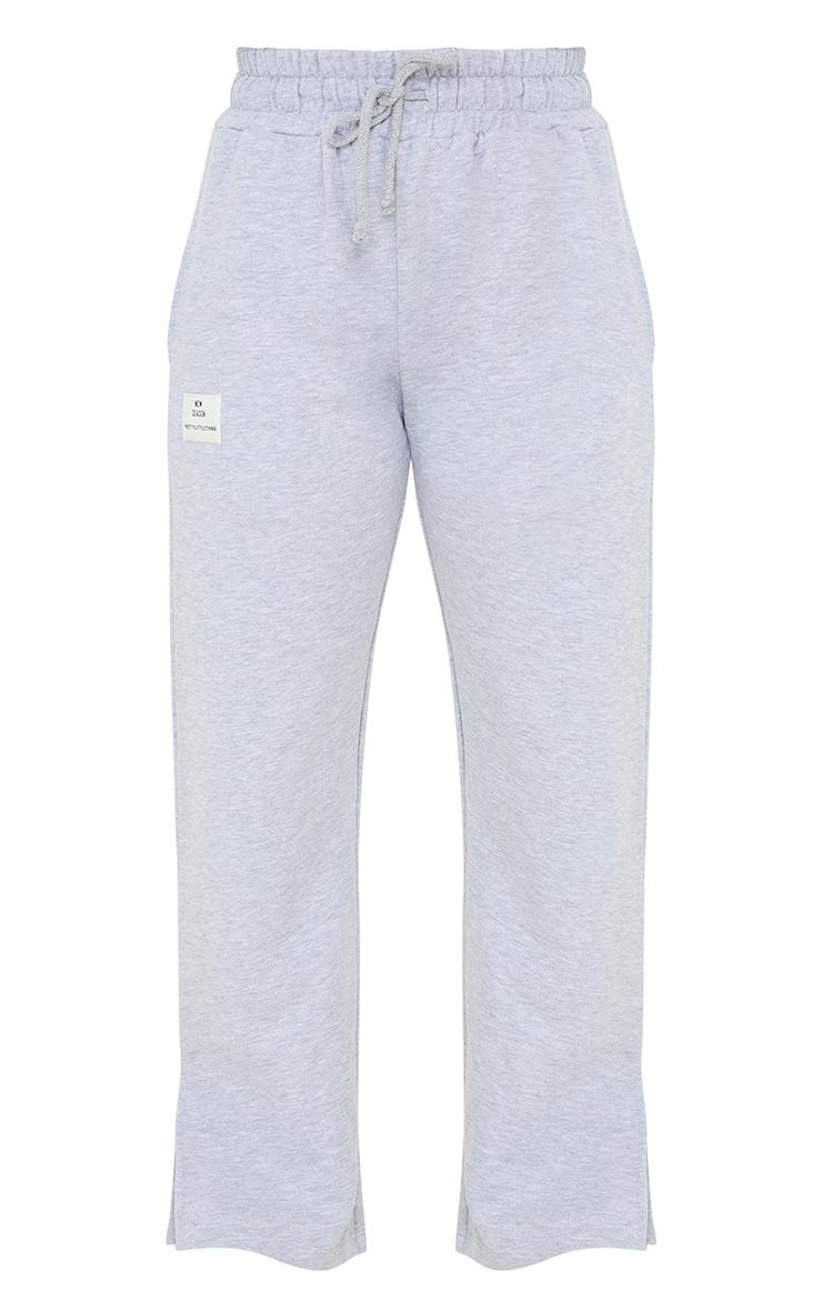 PRETTYLITTLETHING Petite Grey Wide Leg Joggers 5