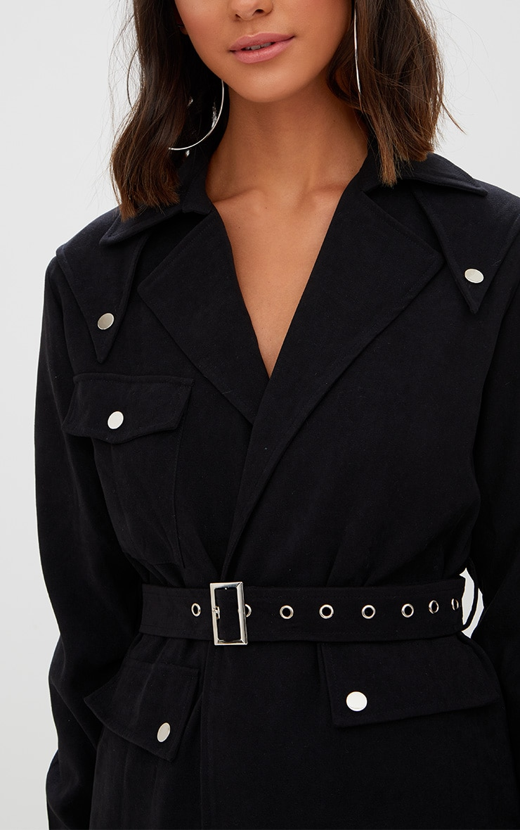 Black Longline Belted Trench Coat 5