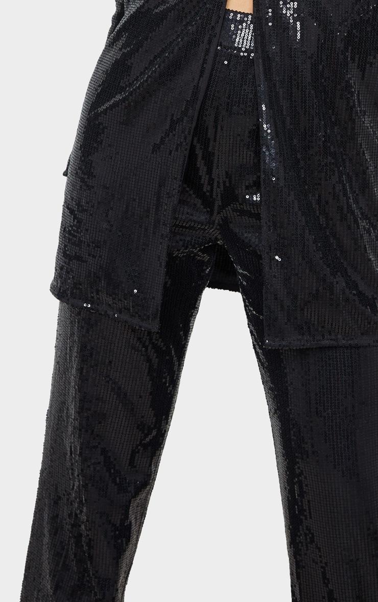 Tall Black Sequin Wide Leg Trouser 5