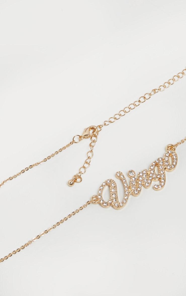 Gold Diamante Virgo Star Sign Necklace 1