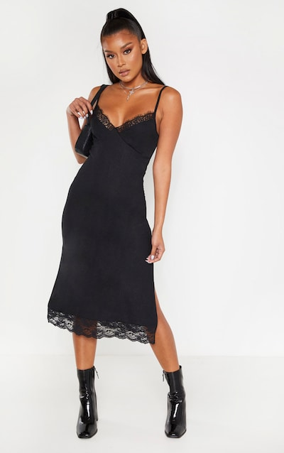 Black Lace Trim Midi Dress