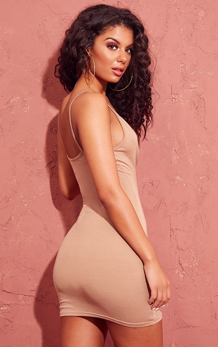 Basic Camel Extreme Plunge Strappy Bodycon Dress 2