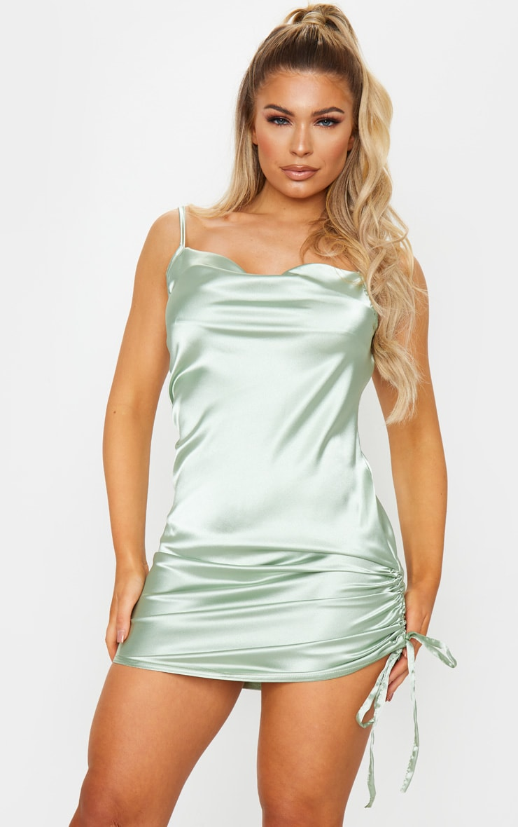 Sage Green Satin Strappy Cowl Neck Ruched Bodycon Dress 1
