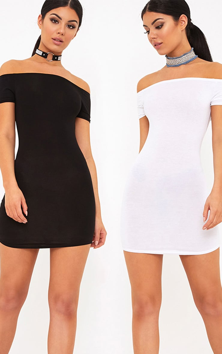 2 Pack White & Black Basic Bardot Bodycon Dress 1