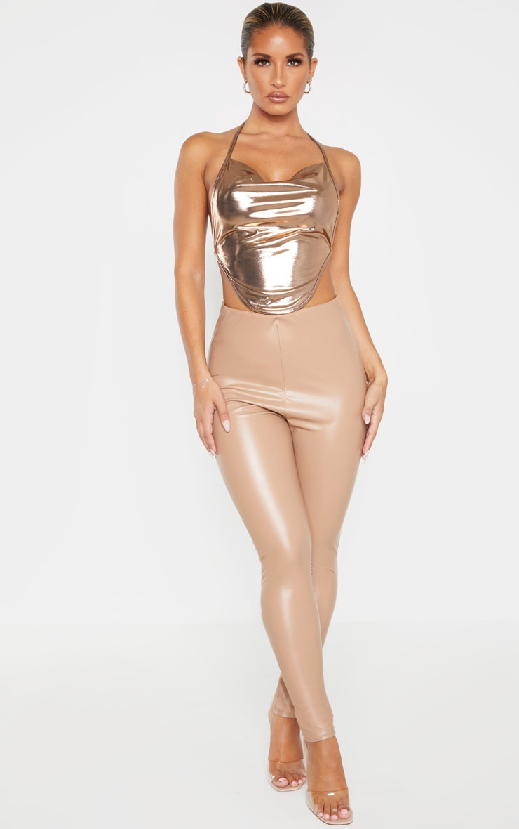 Bronze Metallic Halterneck Curved Hem Crop Top  4