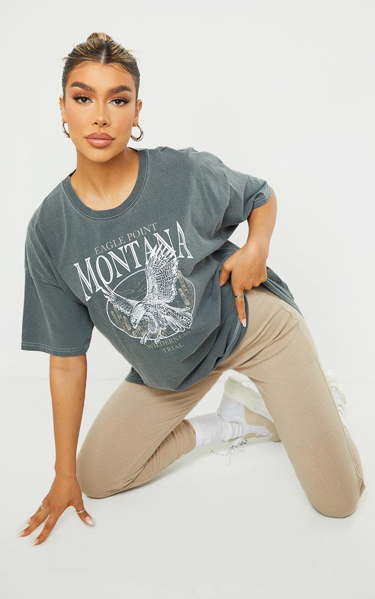 Black Montana Logo Oversized Washed T Shirt 1