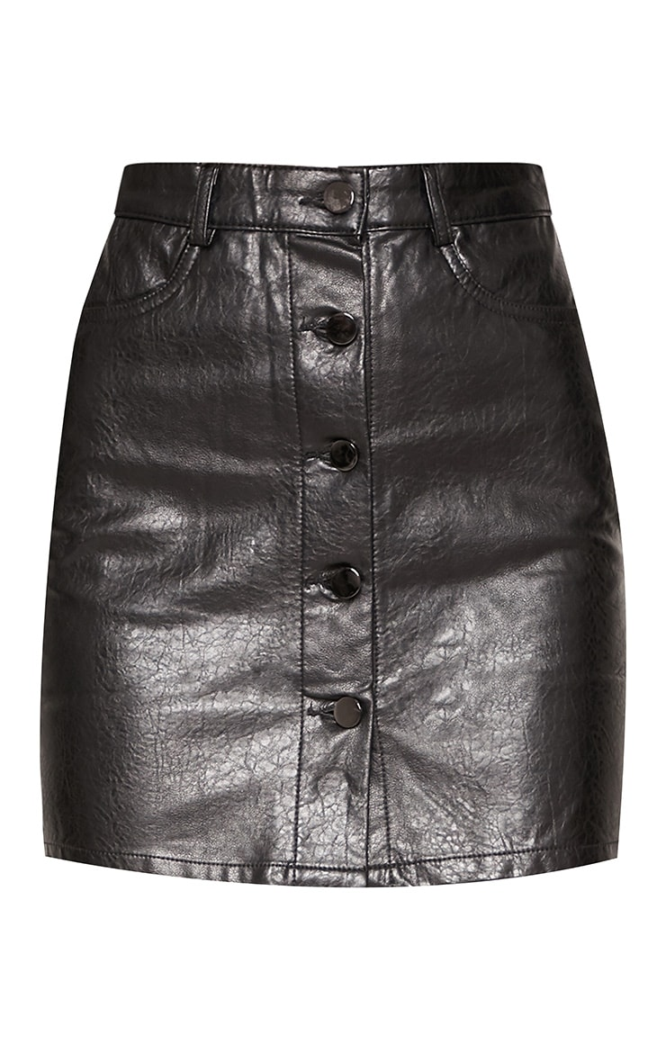 Black Matte Coated Button Down A-Line Skirt 3