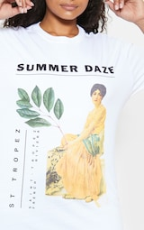 d1f56885fa4 Plus White Summer Daze Slogan T-Shirt image 5