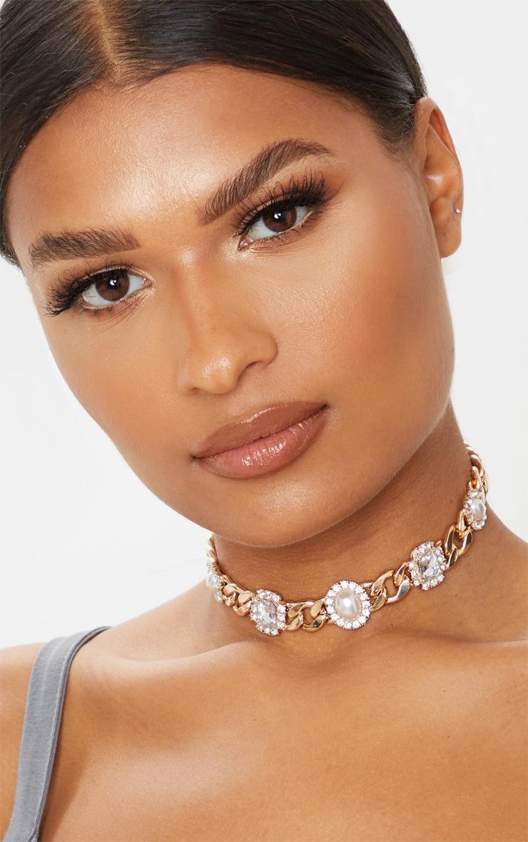 Gold Chain Pearl And Diamante Choker 1
