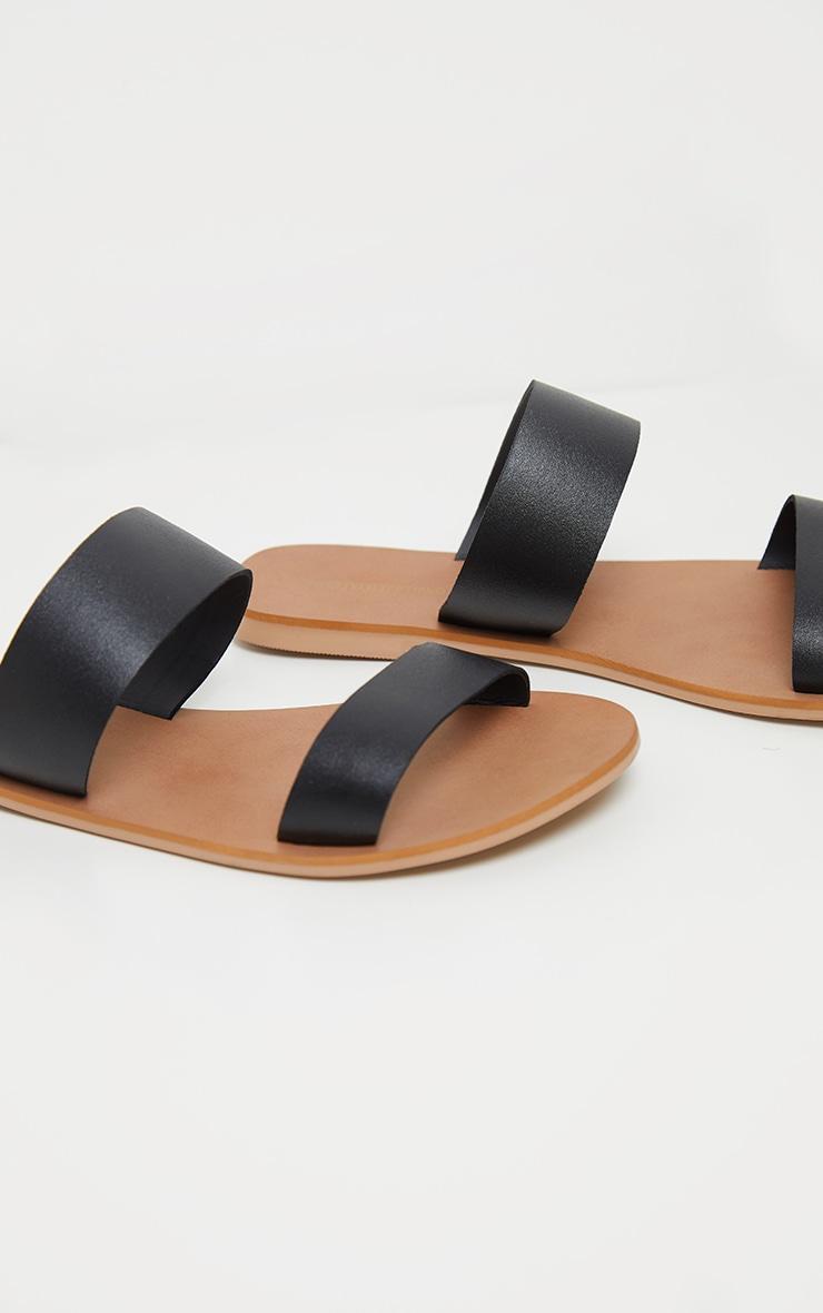 Black Twin Strap Basic Leather Sandal 3