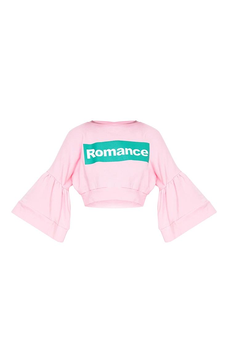 Baby Pink Romance Slogan Balloon Sleeve Cropped Sweater  3