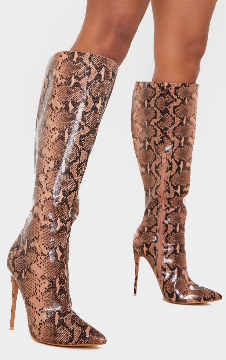 Brown Snake Point Toe Stiletto Knee High Boot 1