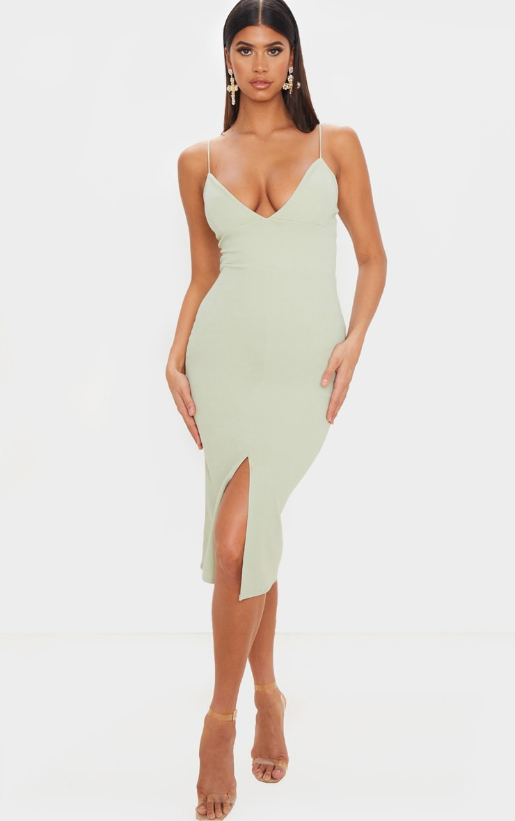 Sage Green Strappy Plunge Midi Dress 1