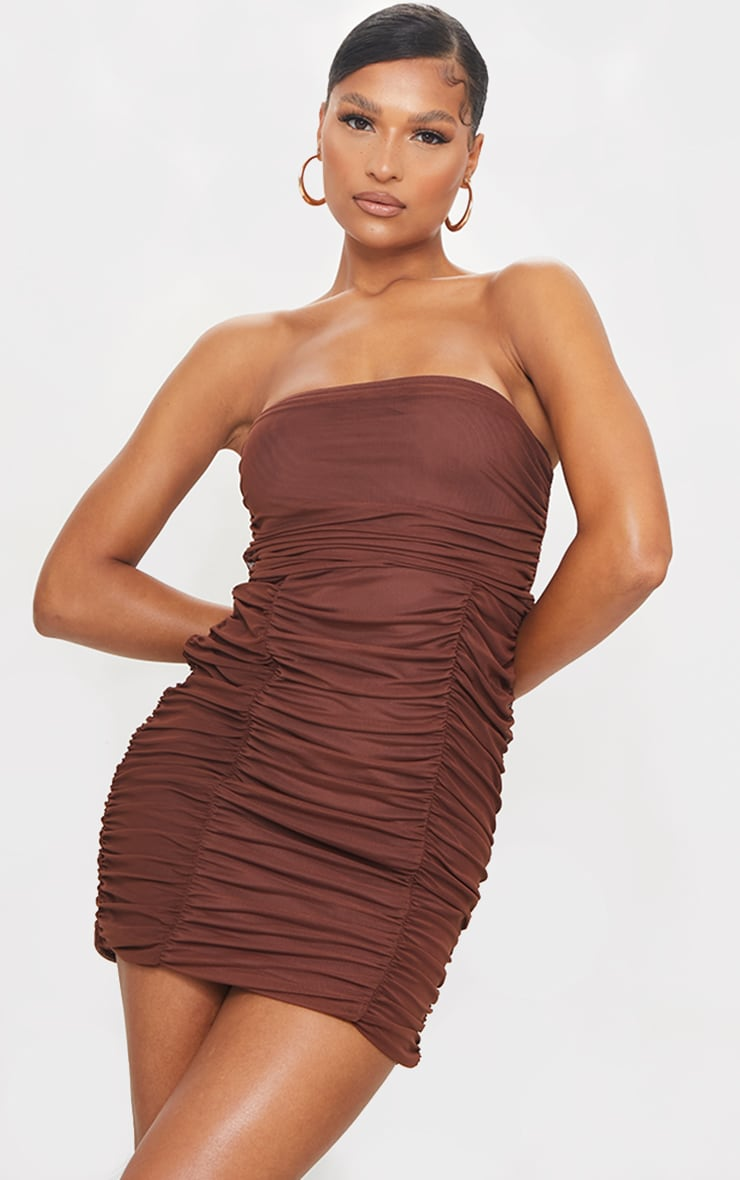 Chocolate Mesh Extreme Ruched Bandeau Bodycon Dress 1