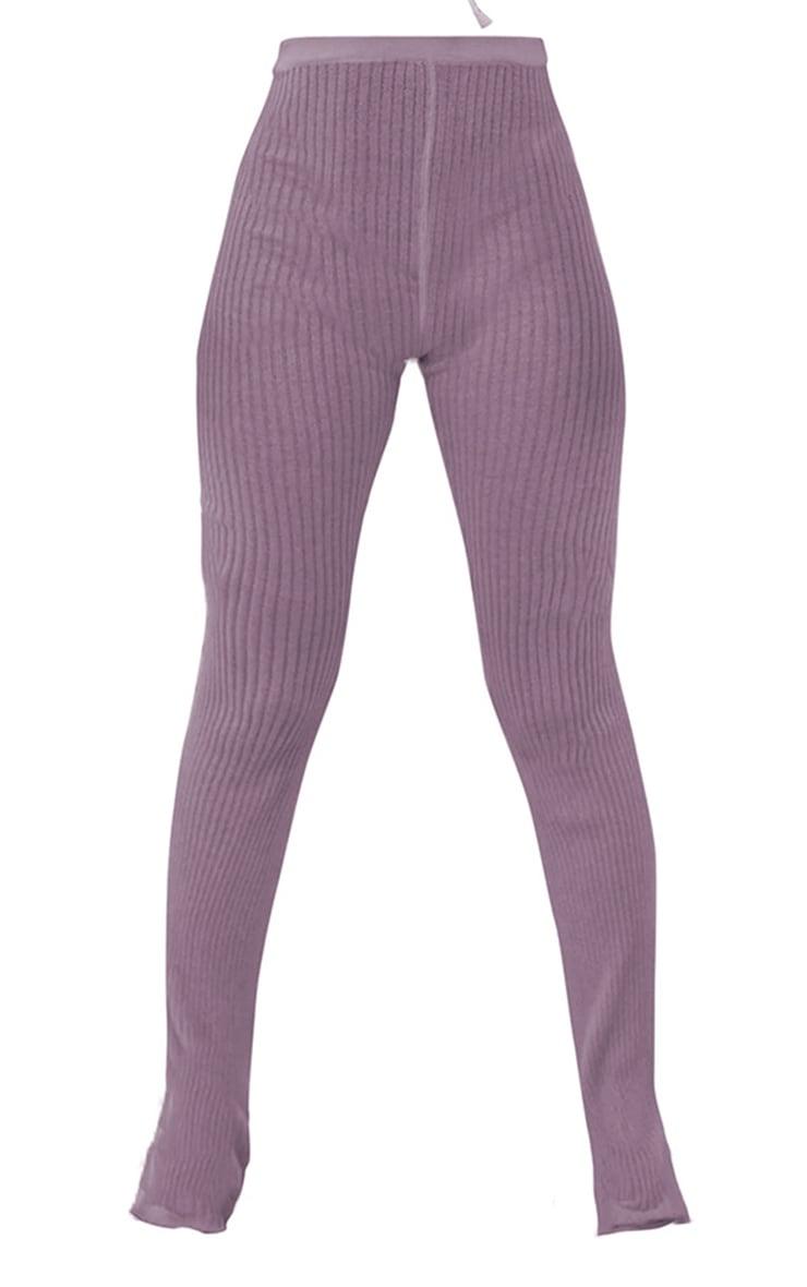 Lilac Sheer Knit Flare Pants 4