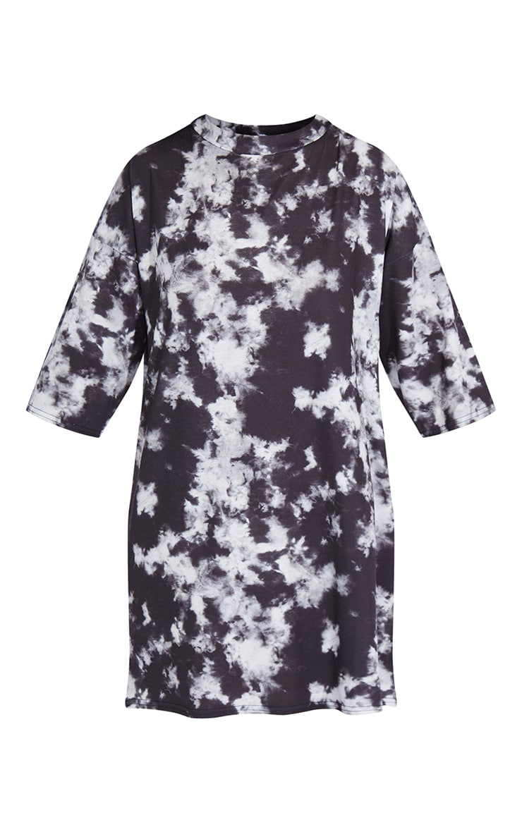 Petite - Robe t-shirt oversize imprimée tie & dye noir 5