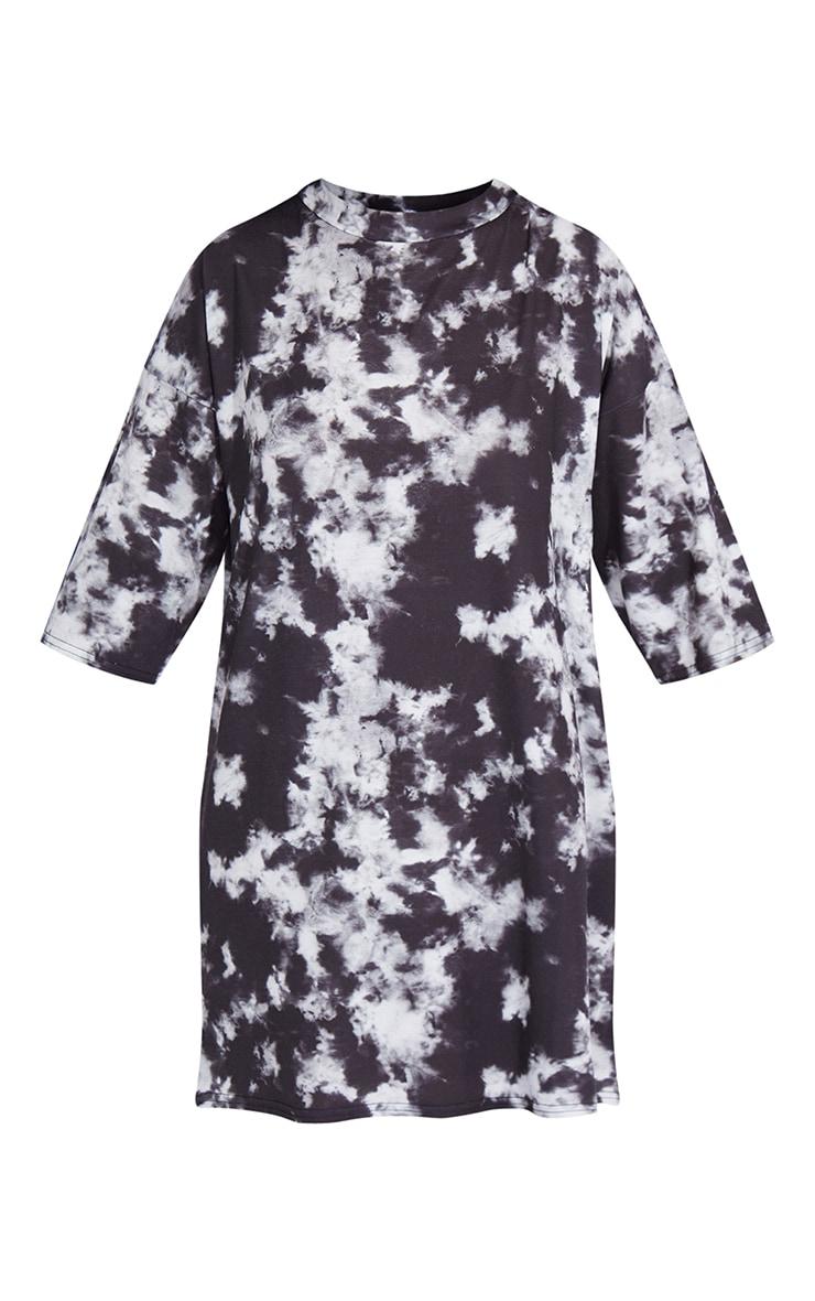 Petite Black Oversized Tie Dye T Shirt Dress 5