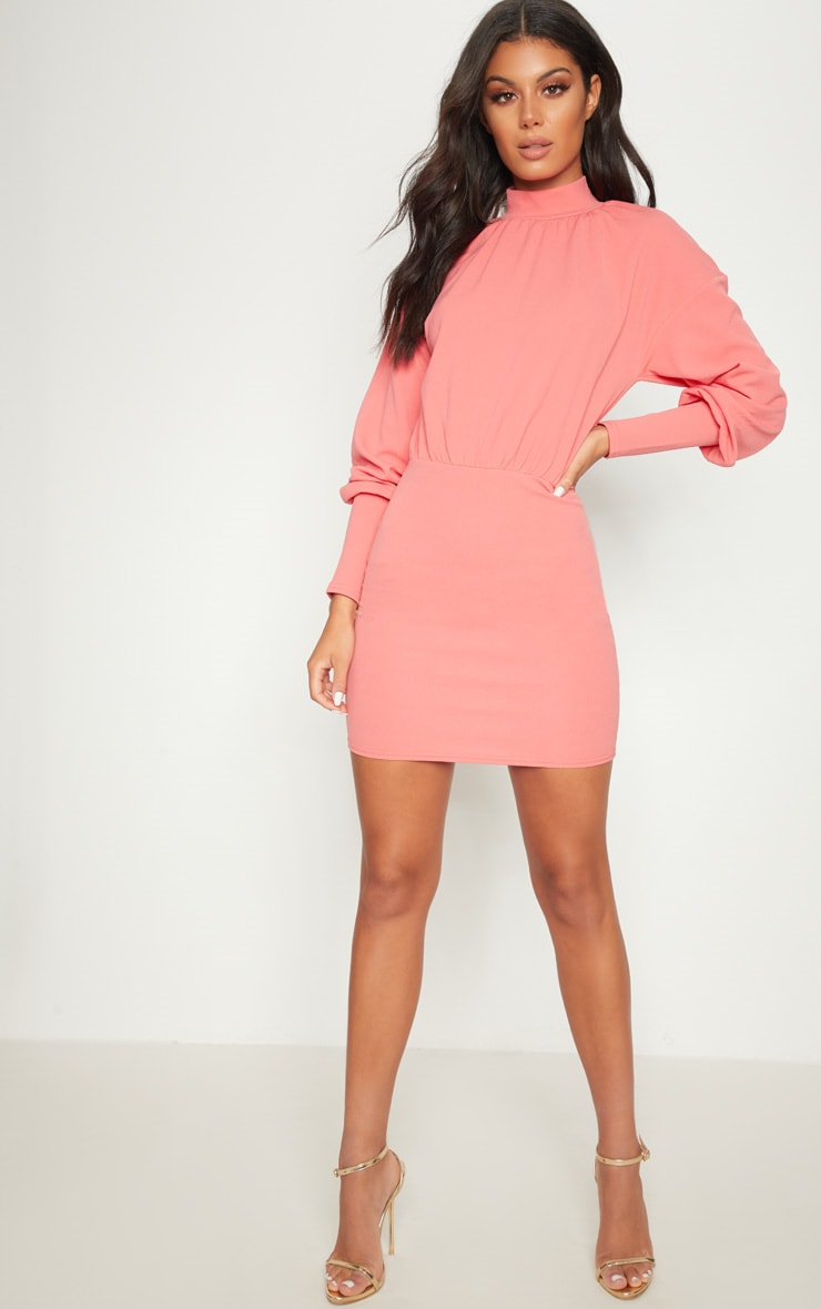 Coral High Neck Balloon Sleeve Bodycon Dress 4