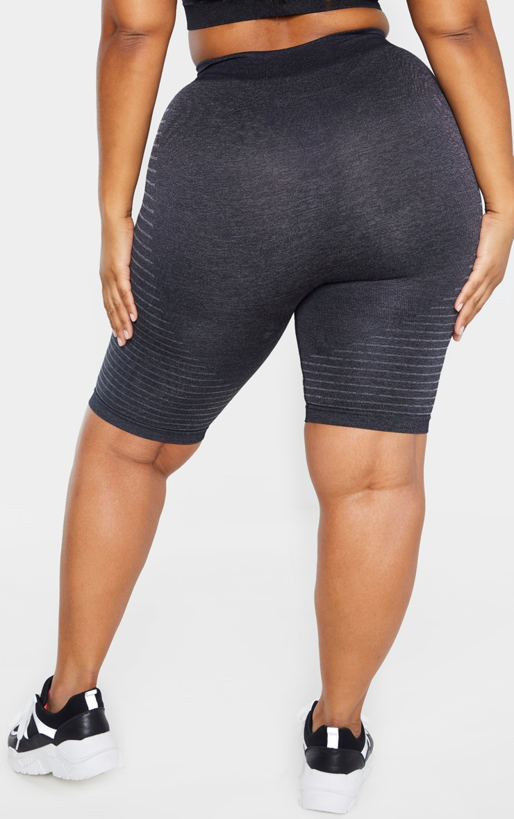 Plus Dark Grey Seamless Stripe Detail Short 6