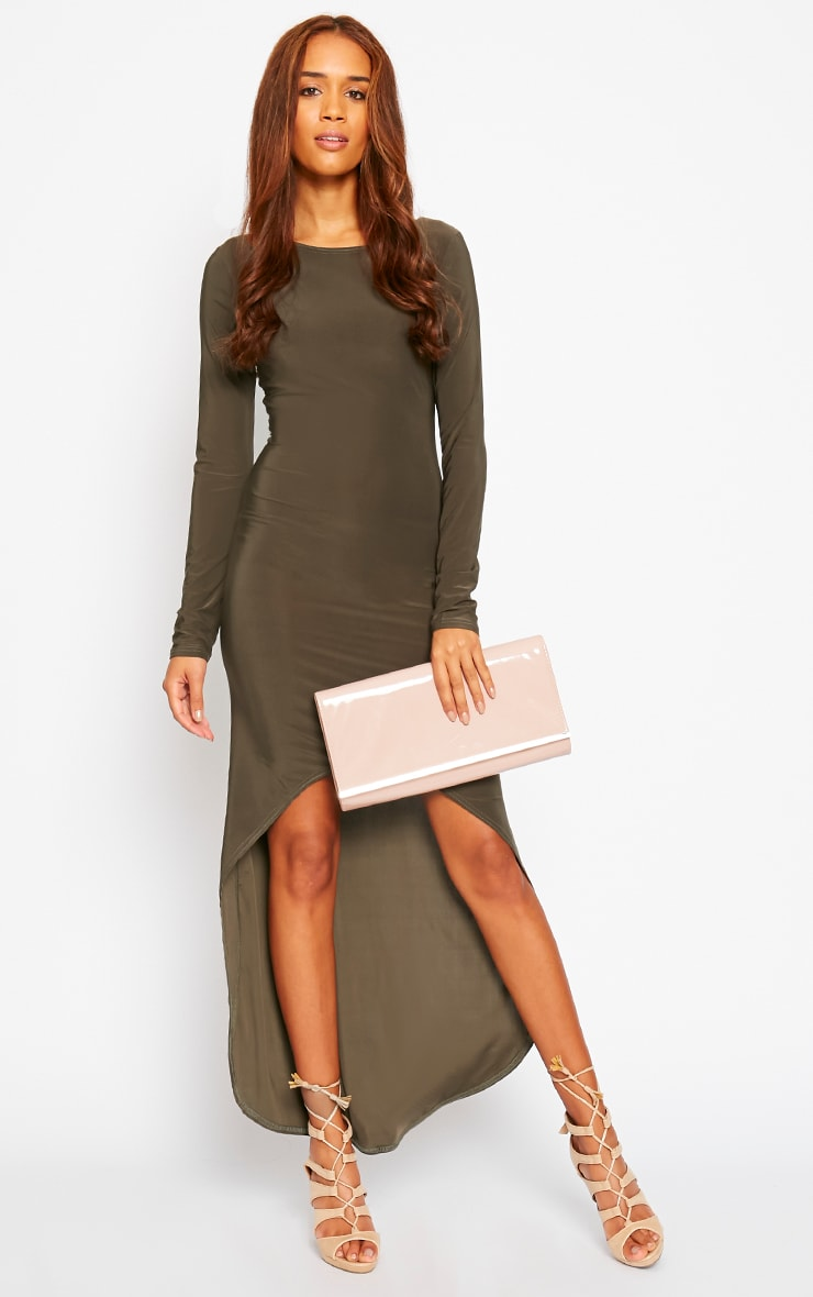 Fearne Khaki Slinky Dip Hem Dress 3
