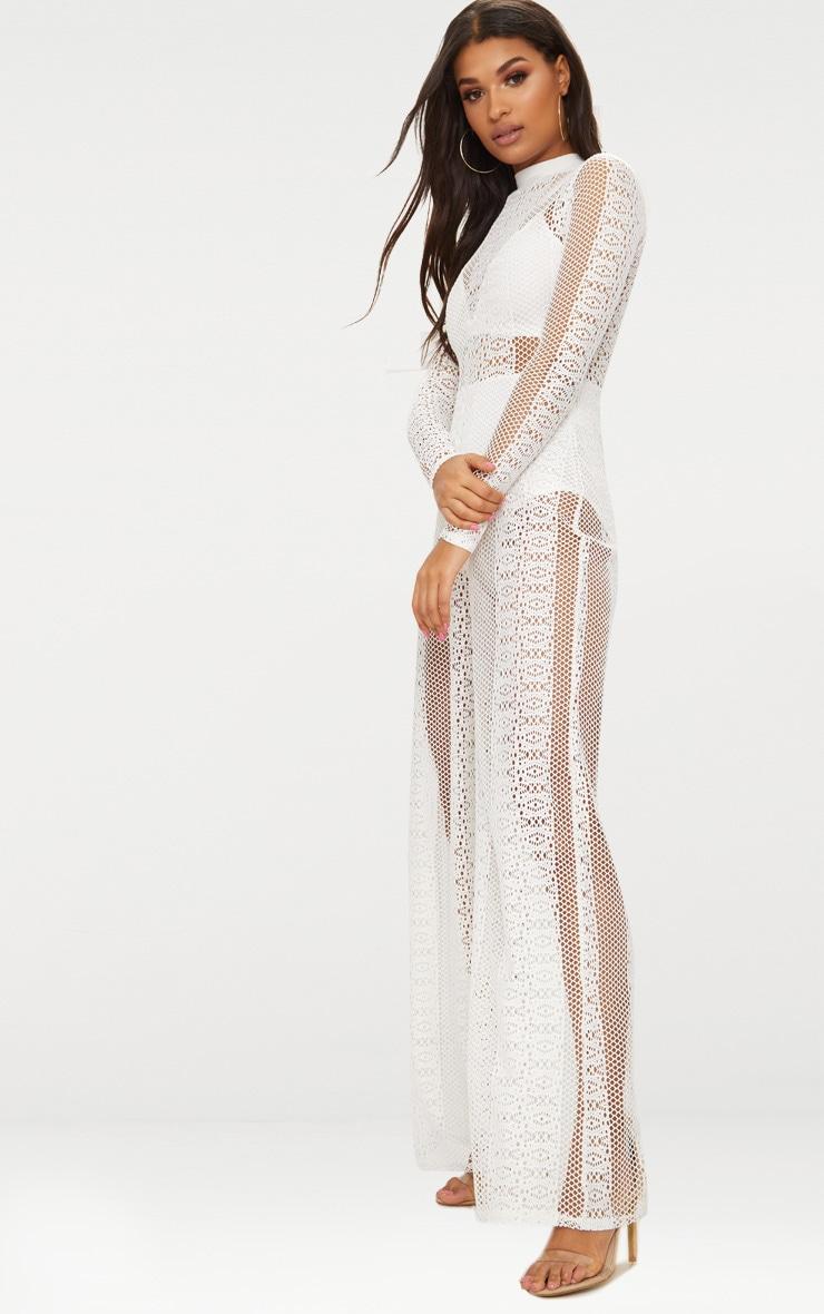 White Lace High Neck Bra Insert Jumpsuit | PrettyLittleThing - photo#44