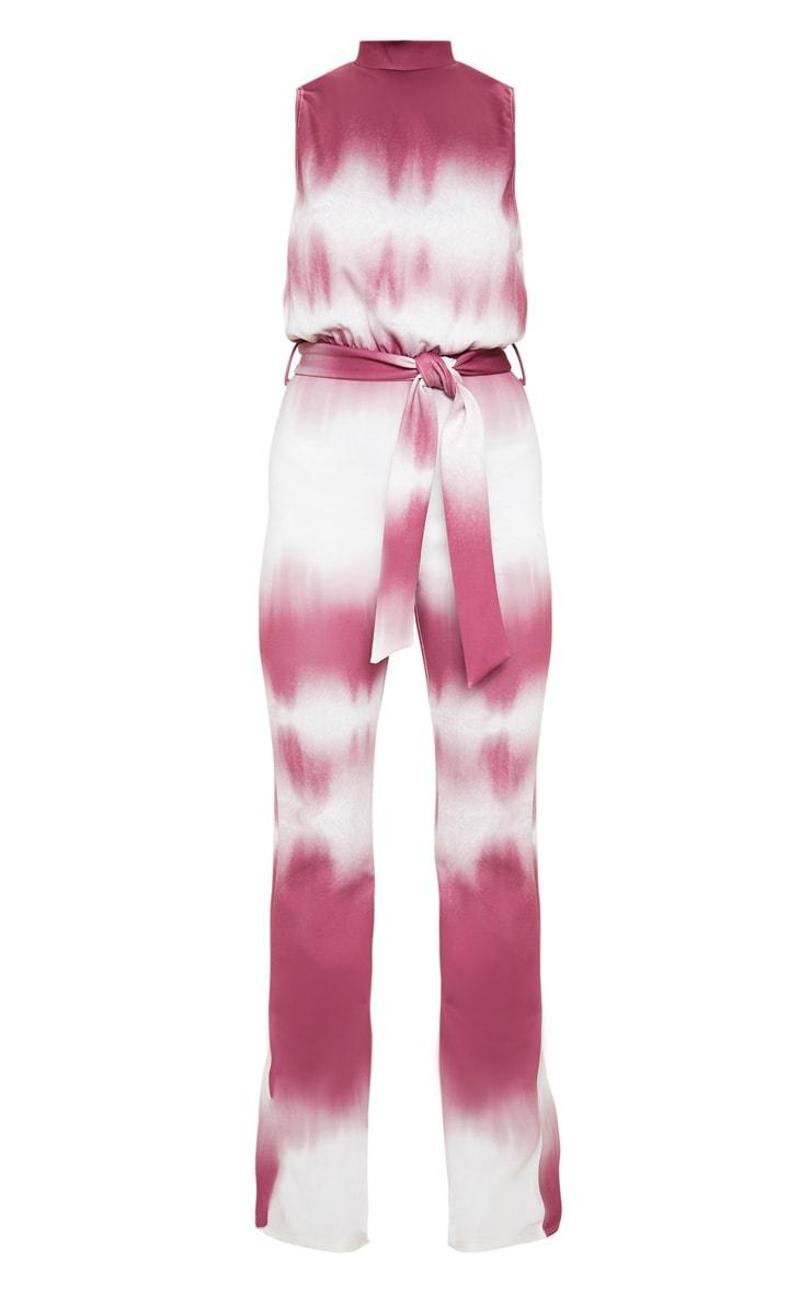 Burgundy Tie Dye Scuba High Neck Tie Waist Jumpsuit 4