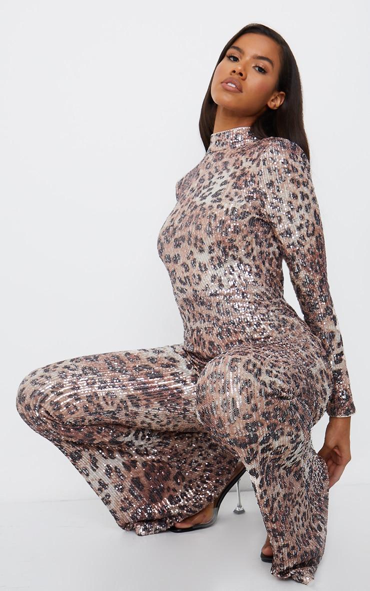Multi Leopard Sequin Shoulder Pad High Neck Flare Leg Jumpsuit 3