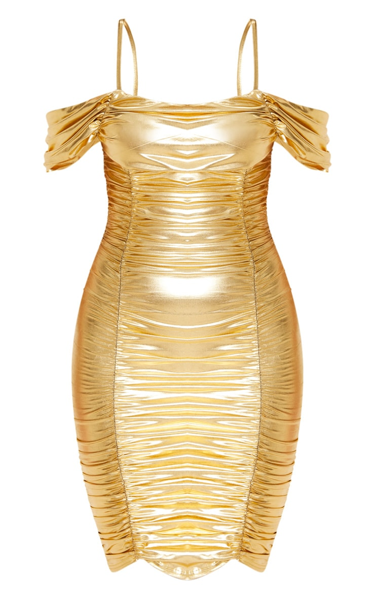 Gold Metallic Ruched Cold Shoulder Bodycon Dress 3