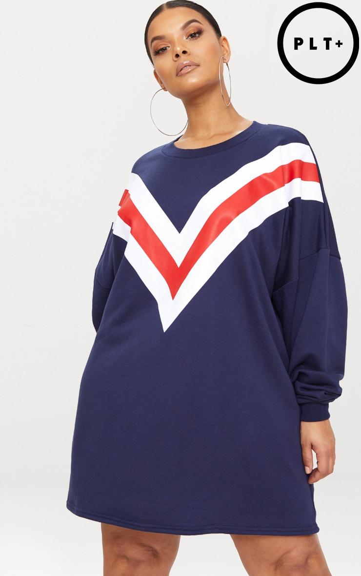 Plus Navy Chevron Oversized Jumper Dress 1
