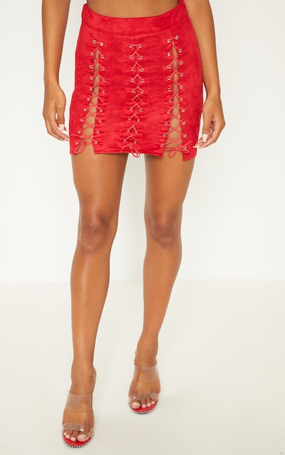Red Faux Suede Lace Up Detail Mini Skirt